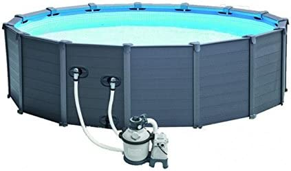 Intex Graphite Gray Panel Pool Set, Azul/Gris, 478 x 478 x 124 cm ...