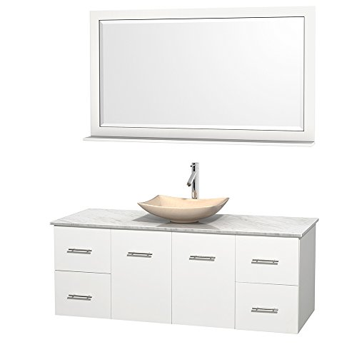 UPC 799559210854, Wyndham Collection Centra 60 inch Single Bathroom Vanity in Matte White, White Carrera Marble Countertop, Arista Ivory Marble Sink, and 58 inch Mirror