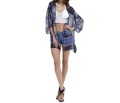 KUWOMINI.Europe Y Estados Unidos Gasa Playa Protector Solar Chaqueta De Punto Bikini Fuera De La Blusa BlueFlowers