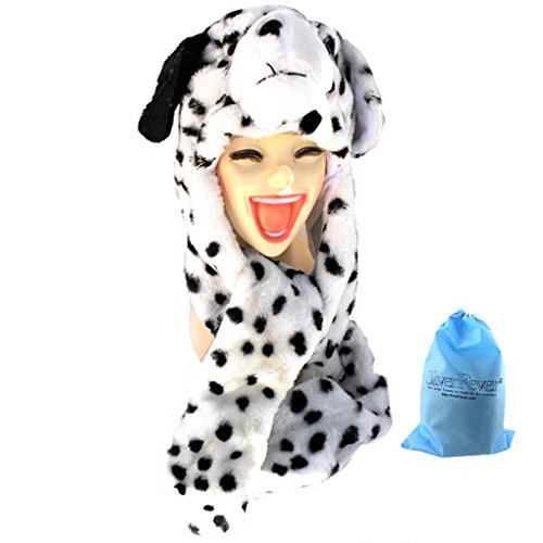 Silver Fever Plush Soft Animal Beanie Hat with Built-in Earmuffs, Scarf, Gloves Dalmation -