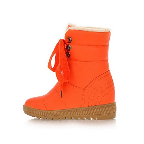 with PU Boots 5 M Orange Platform 7 B US Womens Soft Closed Solid and Round Banage PU Toe Material AmoonyFashion aRw0vqxzn