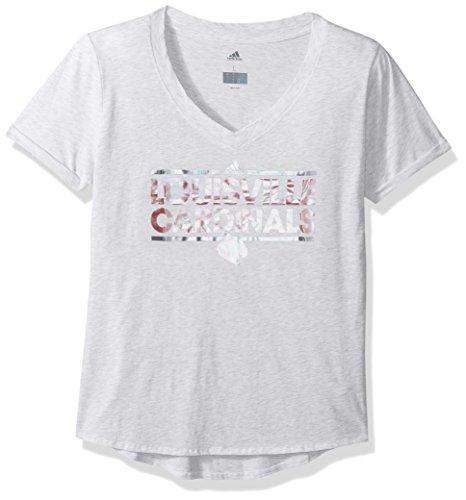NCAA Louisville Cardinals Adult Women Oiled Dassler V-Neck S/Tee, Large, White - Football Womens Cardinals Louisville