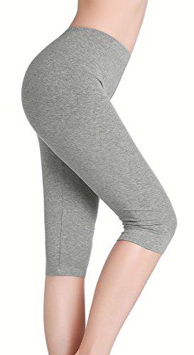 CnlanRow Womens Ultra Soft Stretch Capri Leggings - Under Skirt Short Leggings for Women - Air Capri Leggings