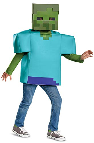 Disguise Zombie Minecraft Classic Child Costume, Green,
