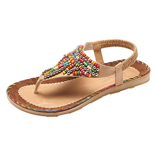 2019 New Comfort Sandals for Women with Arch Support Ladies String Bead Casual Beach Shoes Sandals ❤️Sumeimiya Khaki]()