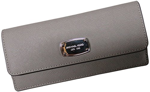 Michael Kors Jet Set Travel Flat Leather Wallet Pearl Grey by Michael Kors