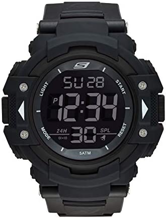 Skechers Men's Keats Quartz Plastic and Nylon Digital Watch Color Black, 28 Model SR1037