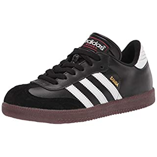 adidas Samba Classic Soccer Shoe, White/Black/White, 2.5 US Unisex Little Kid