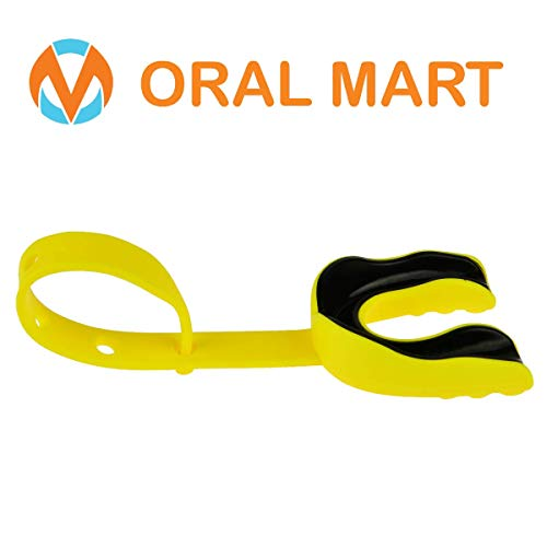 Free Ncaa Football - Oral Mart Yellow/Black Sports Mouth Guard with Strap (Ice Hockey/Football/Lacrosse) - Strapped Mouthguard for Football, Hockey, Lacrosse, College Football (with Free Case)