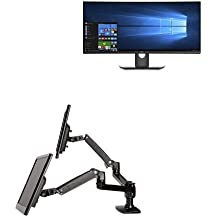Two Dell U3417W 34-Inch Screen LED-Lit Monitors Bundled with AmazonBasics Dual Side-by-Side Mounting Arm
