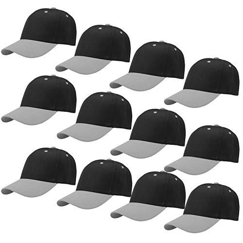 Falari Wholesale 12-Pack Baseball Cap Adjustable Size Plain Blank Solid Color (Black/Grey)