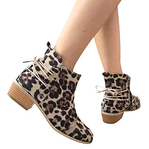 (DongDong Seasonal Offers❣Fashion Ankle Short Booties- Women Leopard Print Suede Shoes Zipper Boots Lace Up Newest)