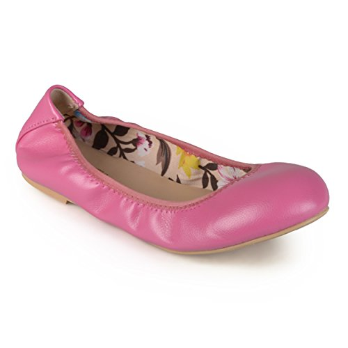 Journee Samling Kvinnor Flexibla Scrunch Ballet Flats Fuchsia