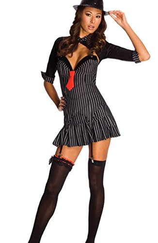 3 Pc. Mafiosa Girl Costume Pinstriped Black Extra Small -