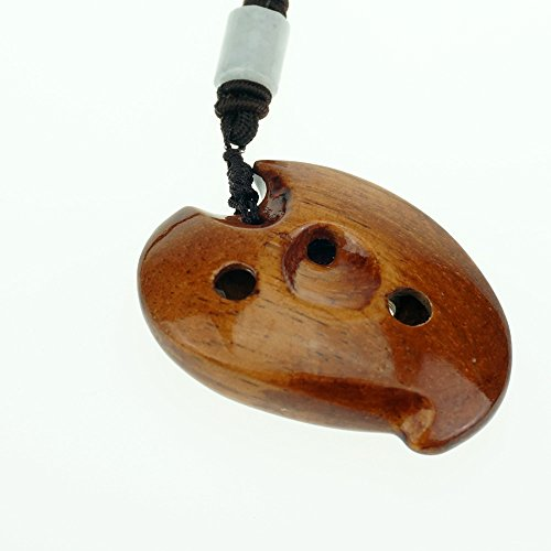 6 hole wooden ocarina elm or locust wood SSF,Exquisite Design,Mini Wooden Ocarina Necklace Music Instrument Gift Idea