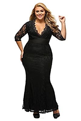 XAKALAKA Women's V-neck 3/4 Sleeve Plus Size Lace Wedding Cocktail Dress