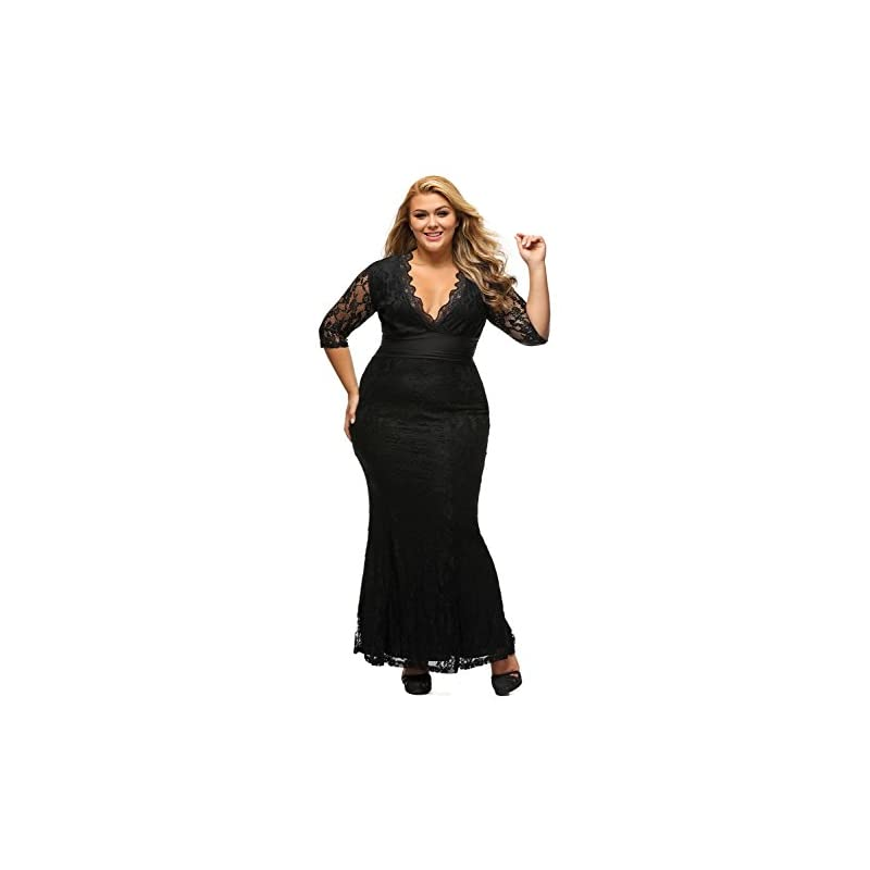 8ae8fdfeac389 XAKALAKA Women s V-Neck 3 4 Sleeve Plus Size Lace Wedding Cocktail Dress