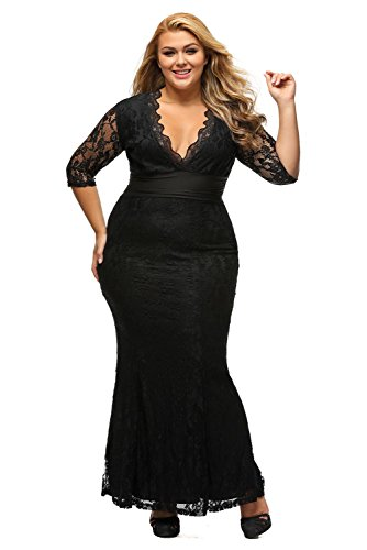 XAKALAKA-Womens-V-neck-34-Sleeve-Plus-Size-Lace-Wedding-Cocktail-Dress