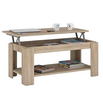 Habitdesign Table Basse Relevable Avec Porte Revues Integre Couleur Chene Canadien 102 X 50 X 43 54 Cm De Hauteur 001639f