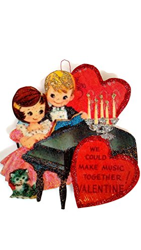 Valentine's Day Card Ornament Decoration Piano Music Kids Handmade Holiday Gift