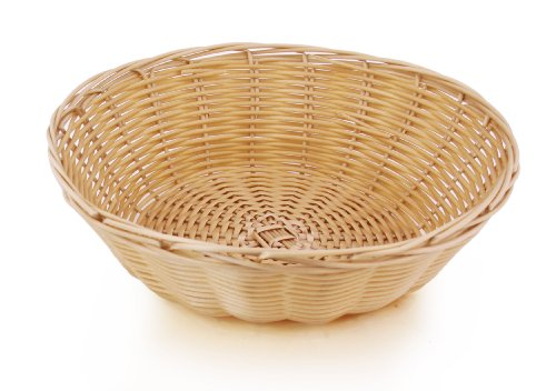 New Star Foodservice 44201 Food Serving Baskets 9 x 2.75 inch Round, Hand Woven, Polypropylene, Set of 12, Natural by New Star Foodservice (Image #1)