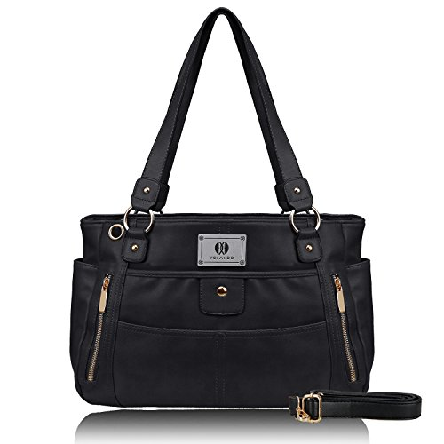 Shoulder Double Handbag (YOLANDO Womens' Vegan Leather Zipper Tote Bag Top-handle Handbags Large Capacity Ladies' Purse YT0024 (Black))