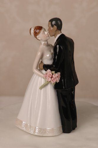 Porcelain Interracial Bi-racial Wedding Cake Topper Ethnic African American Black Groom White Caucasian Brunette Hair Bride -