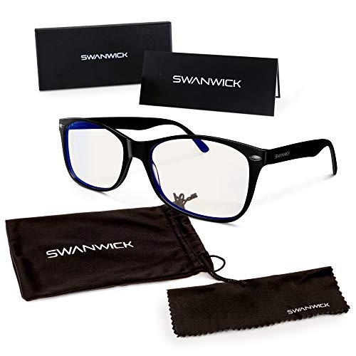 Swannies Premium Daytime Blue Light Blocking Computer Glasses for Gaming, Reading or Work - Dry Eye Relief (Black) Regular