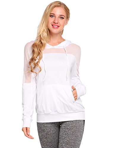 (HAPLICA Womens Workout Tops Patchwork Mesh Hoodies Long Sleeve Sweatshirt Fast Dry Fit T-Shirts Tops)