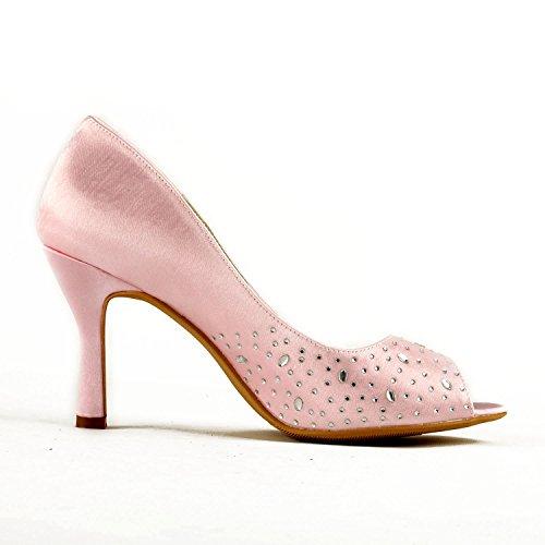 Stiletto Pink Party Shoes Bridal Heel GYAYL431 Minitoo Womens Sparkle Evening Satin Wedding 9cm Sandals High Heel OEx8qw