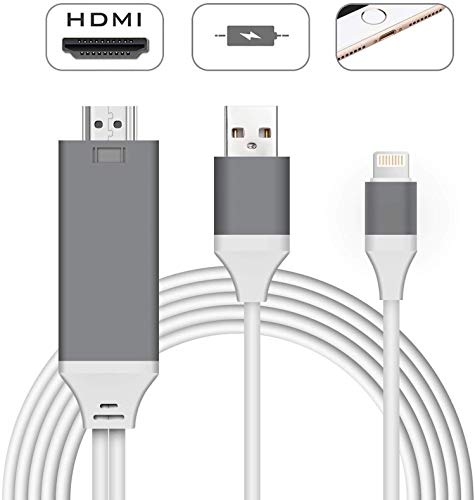 Compatible with iPhone iPad to HDMI Cable, Begmea 6.6ft HDMI Adapter,1080P HDTV Connector Cable, Digital AV Adapter Cord Compatible with iPhone X 8 7 6 Plus 5s 5, iPad, iPod to TV Projector (Gray)