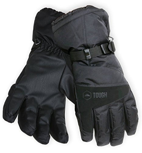 (Winter Ski & Snowboard Gloves with Wrist Leashes - Waterproof & Windproof Snow Gloves for Skiing, Snowboarding, Shoveling - Nylon Shell, Thermal Insulation & Synthetic Leather Palm - Fits Men & Women)