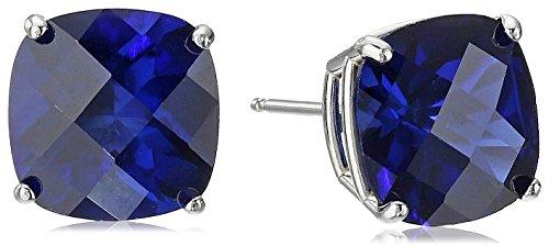 (14k White Gold Cushion-Cut Checkerboard Created Blue Sapphire Stud Earrings)