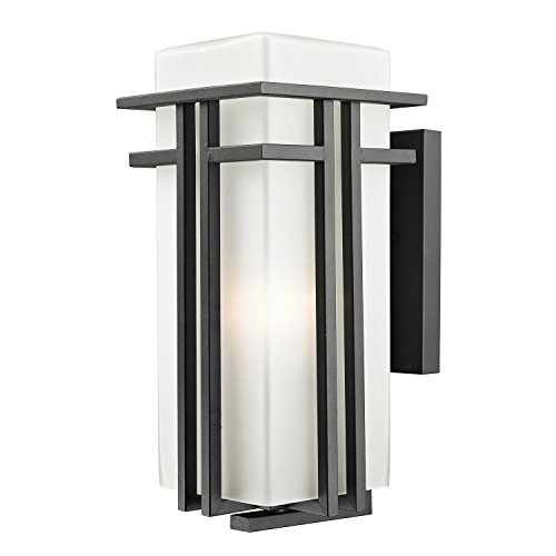 Z-Lite 549B-BK Outdoor Wall Light with  Black Finish, Seedy and Matte Opal (Wall Light Abbey Outdoor)