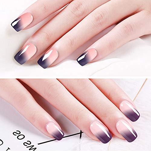 Saviland - Juego de 6 esmaltes de uñas de gel que cambian de color, se pueden quitar con luz UV y LED: Amazon.es: Belleza