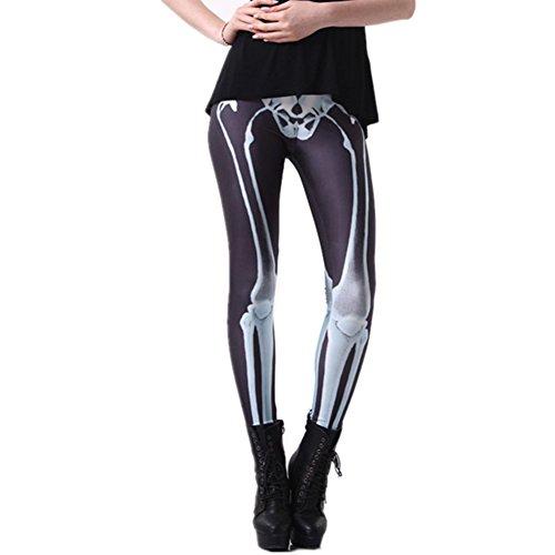(Joyhy Women's Stretchy Digital 3D Printed Plus Size Footless Leggings Pants Skeleton)