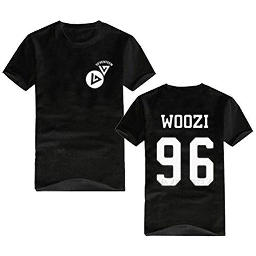 KPOP Seventeen 17 Concert Same Style T-shirt Vernon Joshua Jeonghan Tee Shirt M Black