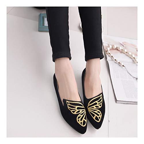 Zapatos Metlico Microfibra Superficial Embellecedor Moda Wulifang Sharp Negro Joker Planos Ballet Taladro 34 Cf1qwBzn