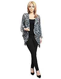 Ladies Multi-Colored Horizantal Print Striped Womens Fashion Cardigan,Large,BLACK-T13644