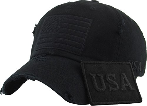 KBETHOS TAC-209 Blk (USA-Blk) Tactical Operator With USA Flag Patch US Army Military Baseball Cap Adjustable
