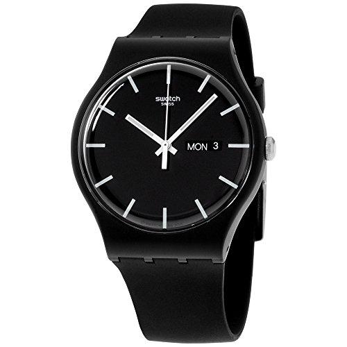 Swatch Mono Black Quartz Watch with Silicone Strap, 20 (Model: SUOB720)