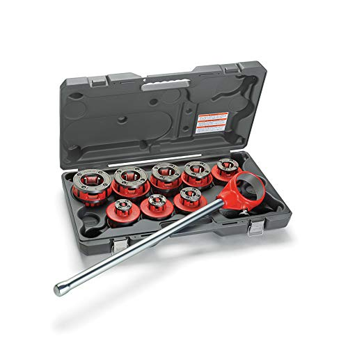 RIDGID 36475 Exposed Ratchet Threader Set, Model 12-R Ratcheting Pipe Threading Set of 1/2-Inch to 2-Inch NPT Pipe Threading Dies and Manual Ratcheting Pipe Threader with Carrying Case