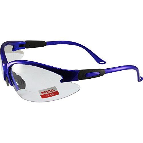 (Global Vision Cougar Bifocal Safety Glasses Blue Frame Clear 1.5x Magnification Lens ANSI)
