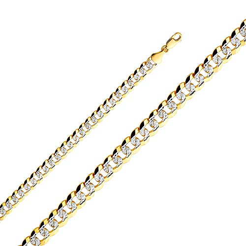 Wellingsale 14k Yellow Gold SOLID 8mm Polished Cuban White Pave Diamond Cut Chain Bracelet - 8.5