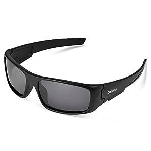 Duduma Tr601 Polarized Sports Sunglasses for Baseball Cycling Fishing Golf Superlight Frame (black frame/black lens)