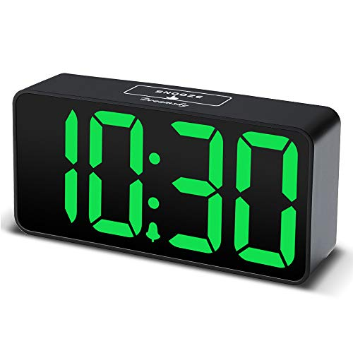 DreamSky Compact Digital Alarm Clock with USB Port for Charging, Adjustable Brightness Dimmer, Green Bold Digit Display, 12/24Hr, Snooze, Adjustable Alarm Volume, Small Desk Bedroom Bedside Clocks.