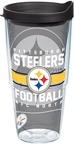 (Tervis 1180580 NFL Pittsburgh Steelers Gridiron Tumbler with Wrap and Black Lid 24oz, Clear)