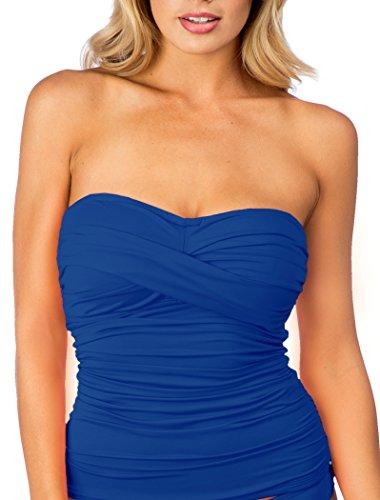 La Blanca Swimwear Solid Island Goddess D Cup Bandini Top-Sapphire-38E