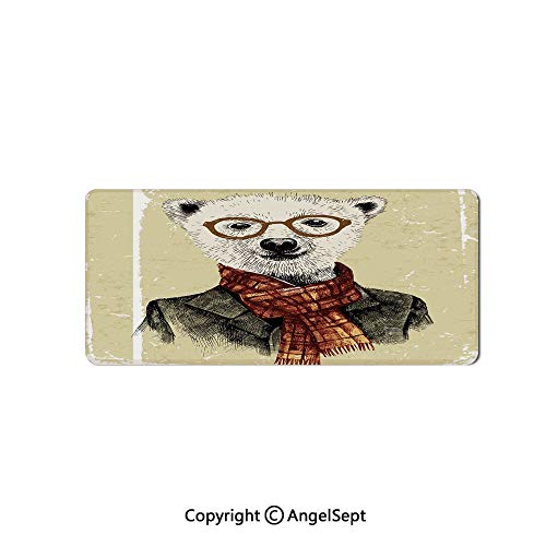 Rectangle Mouse Pads for Computers Laptop Non-Slip Rubber Gaming Mouse Pad-Animal,Hipster Bear with Glasses Scarf Jacket Wild Mammal Humorous Art,12
