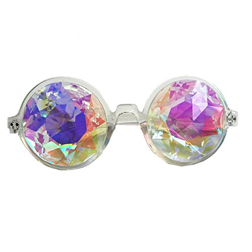 OMG_Shop Kaleidoscope Glasses Rainbow Crystal Lenses Multicolor Fractal Prism For Rave Festival EDM Light Show - Crystal Kaleidoscope